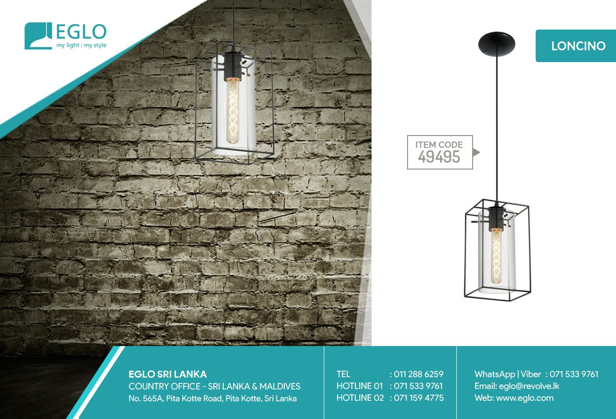 Vintage Lighting from EGLO EGLO 49495 Loncino 1 collection ceiling pendant luminaire is a striking vintage-style cage light constructed of steel, with the shade finished in black with a smoked glass inner shade.  Add a fresh look to your home with this sleek design. Contact us at +94112886259 | Call/WhatsApp/Viber +94711594775 for more details or visit our showroom located at 565A, Pita Kotte Road, Kotte.