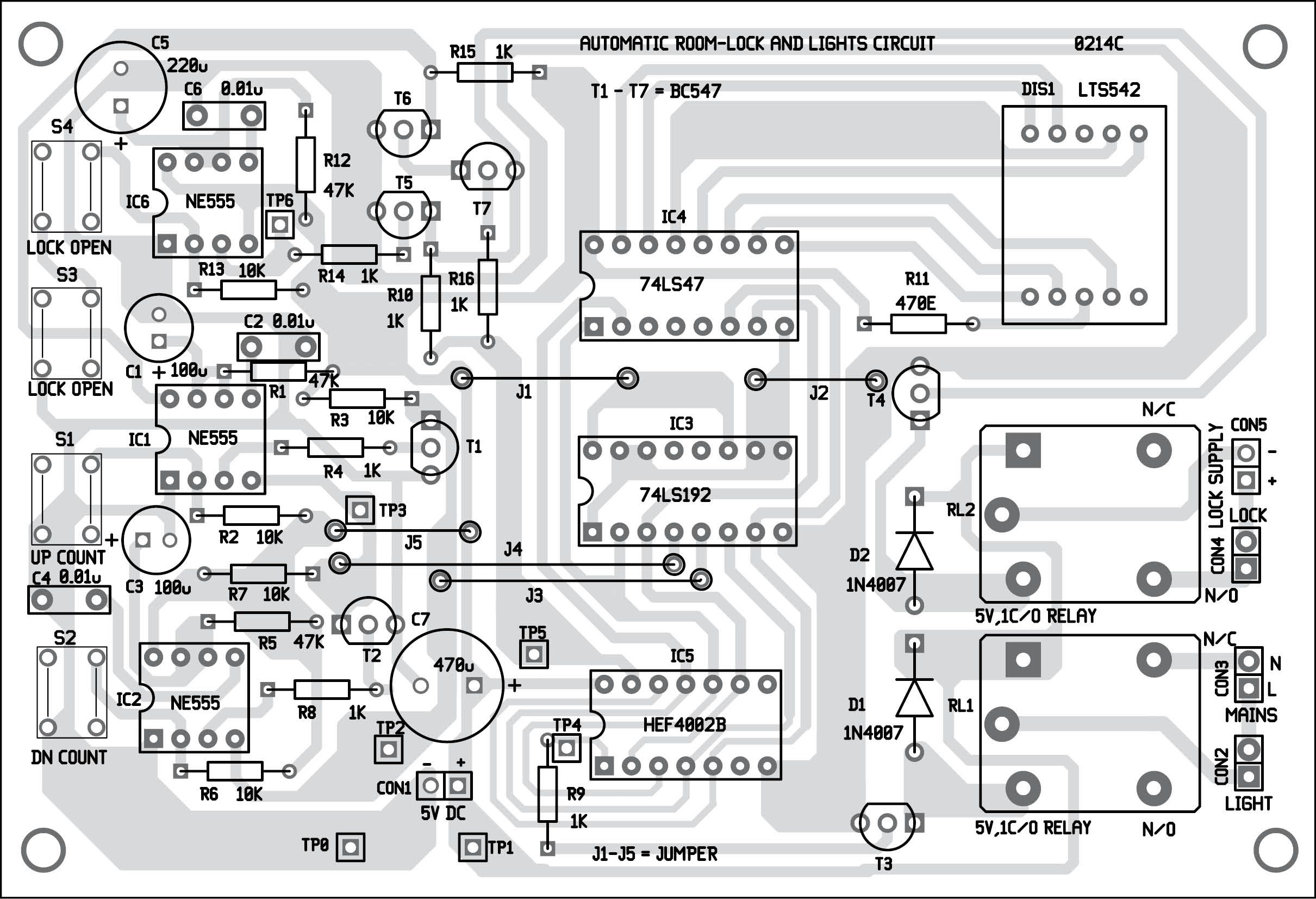 Automatic night light pcb layout - Automatic Room Lock And Lights Circuit This Circuit Counts And Indicates Up To Nine
