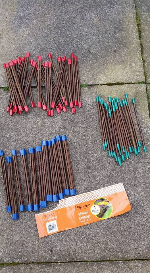 Bundles of counting sticks for in the messy maths area outdoors at school. Singles, bundles of 2's and bundles of 5's. All colour coordinated with insulation tape. Willow edging from pound world is the perfect size for little hands and cost £1 for 1 metre. Insulation tape £1 for pack of 6 different colours. Kitted out the area to start with for £2