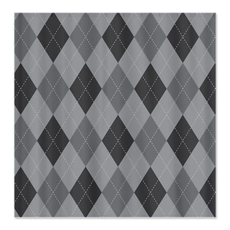 Gray Argyle Shower Curtain