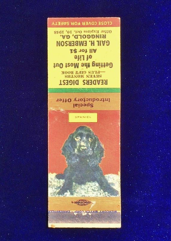 1940 S Cocker Spaniel Dog Matchbook Cover With Readers Digest