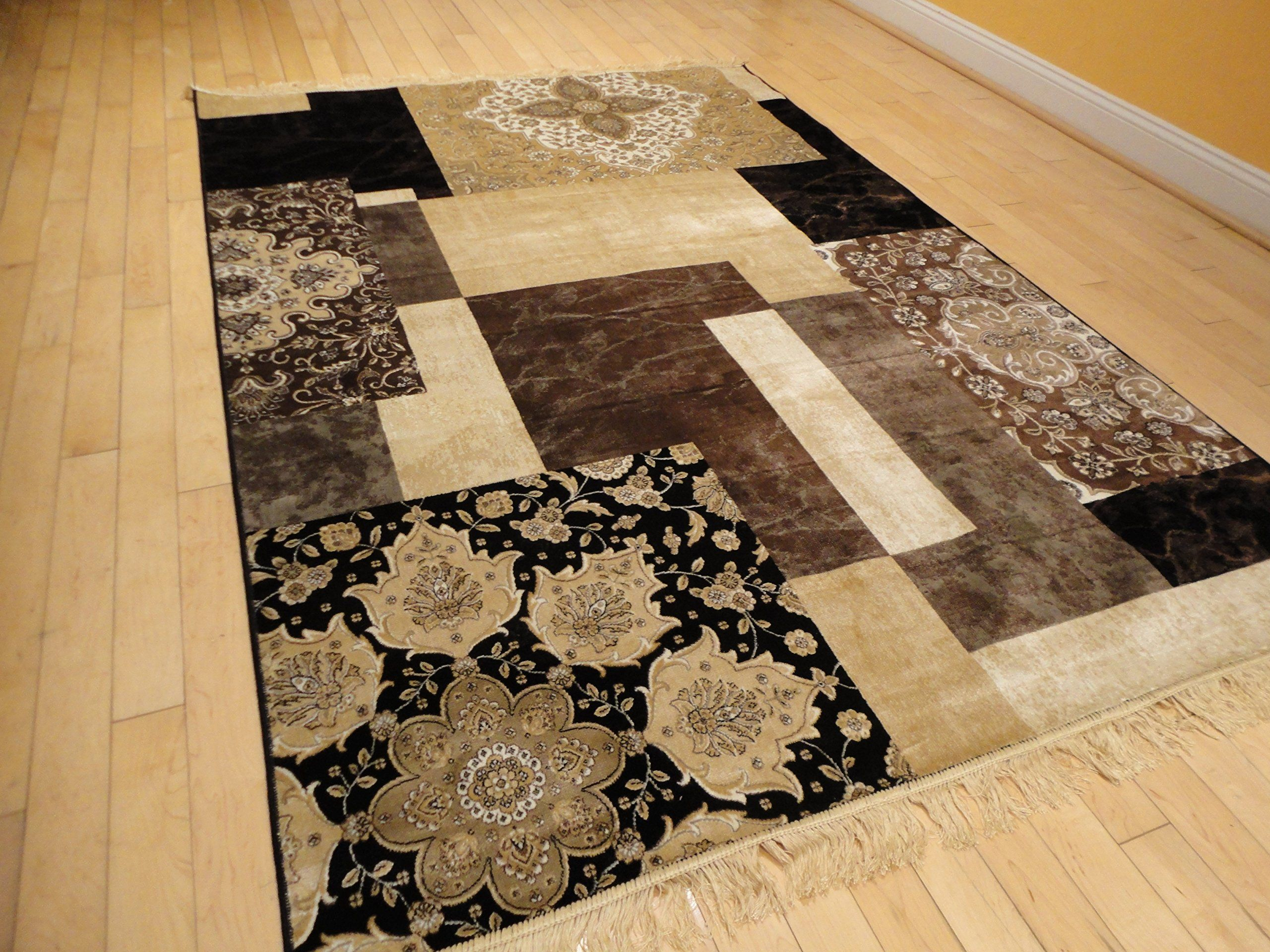 Luxury Silk Area Rugs 5x8 Modern Rug For Living Room Black Brown