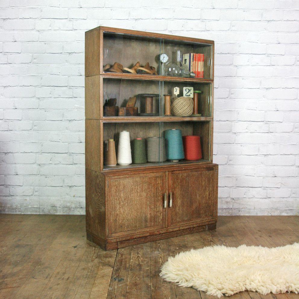 Vintage limed oak sectional bookcase shop display cabinet