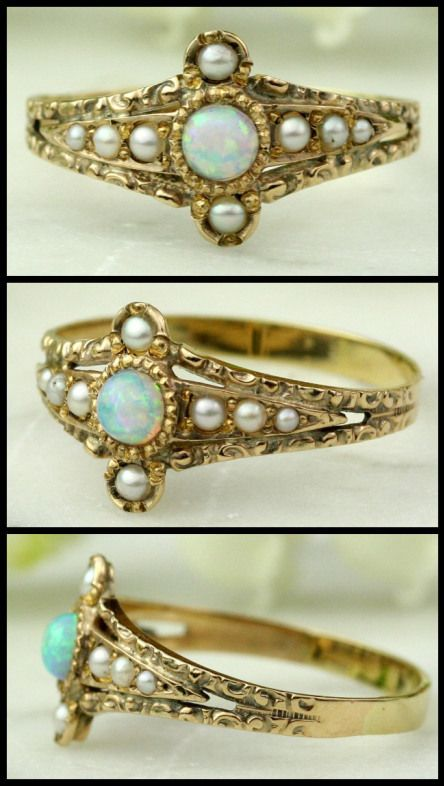 Antique Victorian opal and seed pearl ring in chased rose gold.