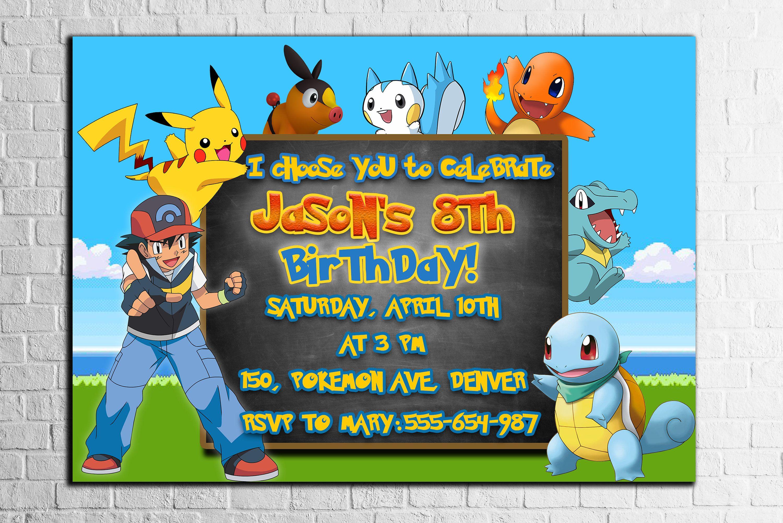 POKEMON INVITATIONS,POKEMON Birthday party invitation,Pokèmon ...