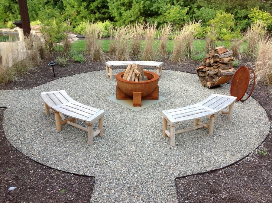Fire Pit Circle Created With Pea Gravel And Surrounded By Mulch, With  Partial Screening Created