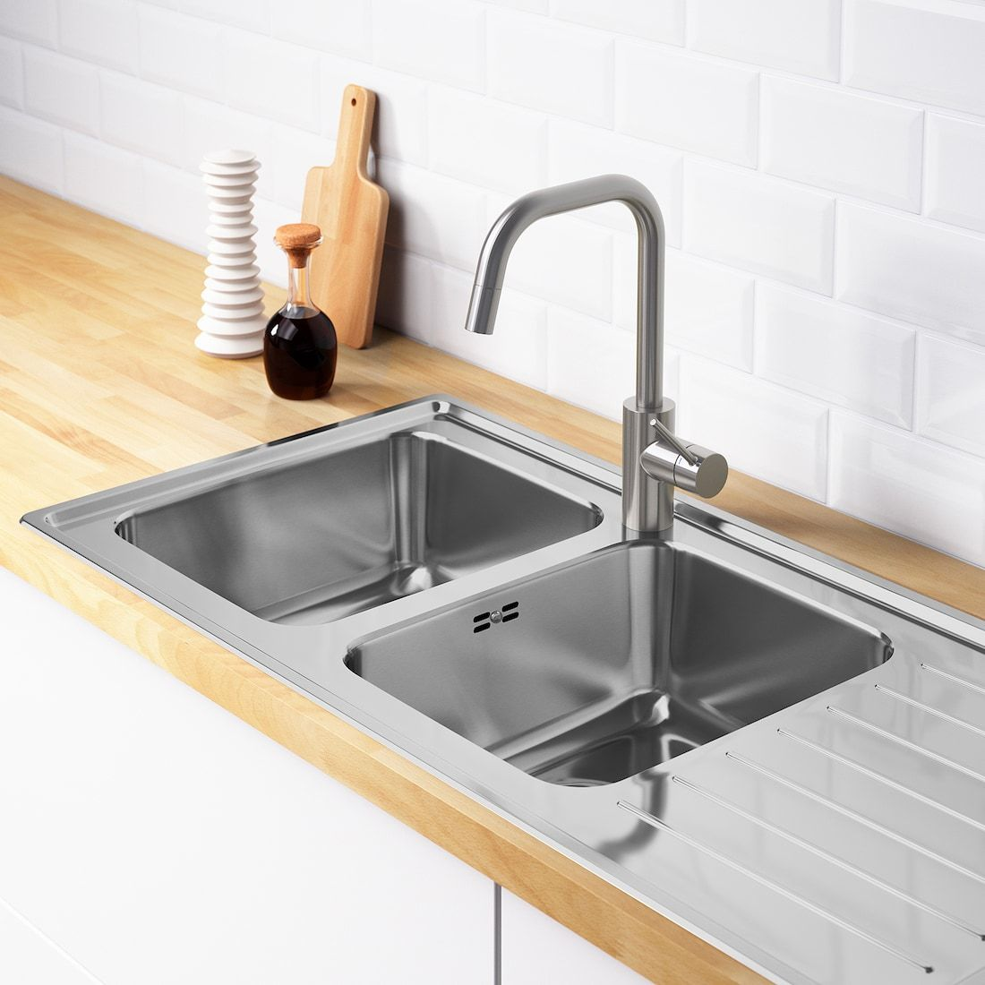Vattudalen Inset Sink 2 Bowls With Drainboard Stainless Steel Ikea Kitchen Sink Design Inset Sink Sink
