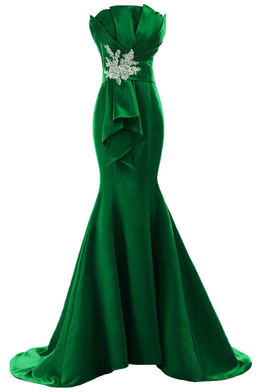 Sunvary Retro Mermaid Long Strapless Evening Formal Dress Satin ...
