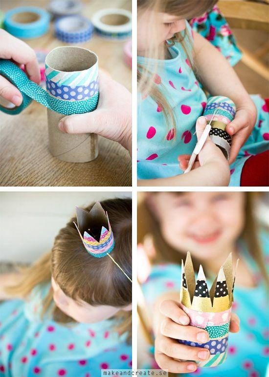 Kalasfina kronor av toarullarMed toalettrullar kan man göra mycket skoj. Som till exempel prins- och prinsesskronor till ett kalas! Duka med en krona på varje tallrik eller låt...
