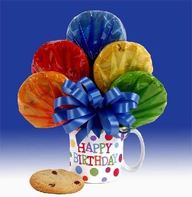 Happy Birthday Cookie Bouquet mug make with swirled sugar cookies