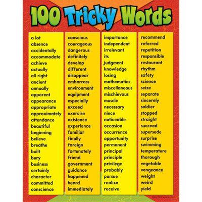 100 Tricky Words Spelling Vocabulary Trend Poster New Ebay In 2021 Tricky Words Spelling Bee Words English Vocabulary