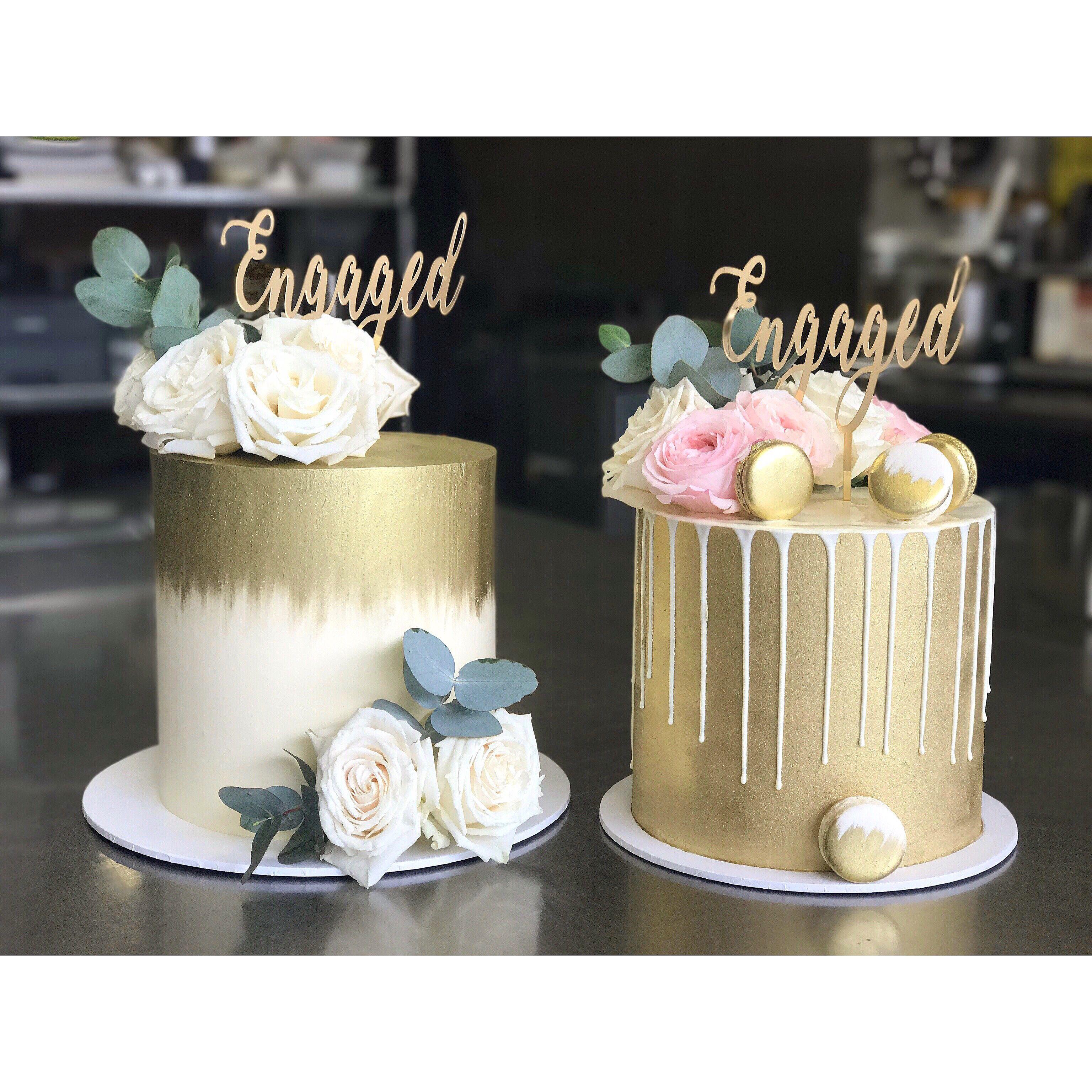 Engagement cakes, cake topper, fresh flowers Cake