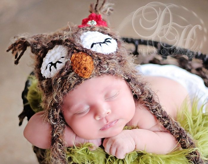 Sleeping Owl Hat Newborn 0 3m 6m Soft Fuzzy Brown Photo Prop Crochet