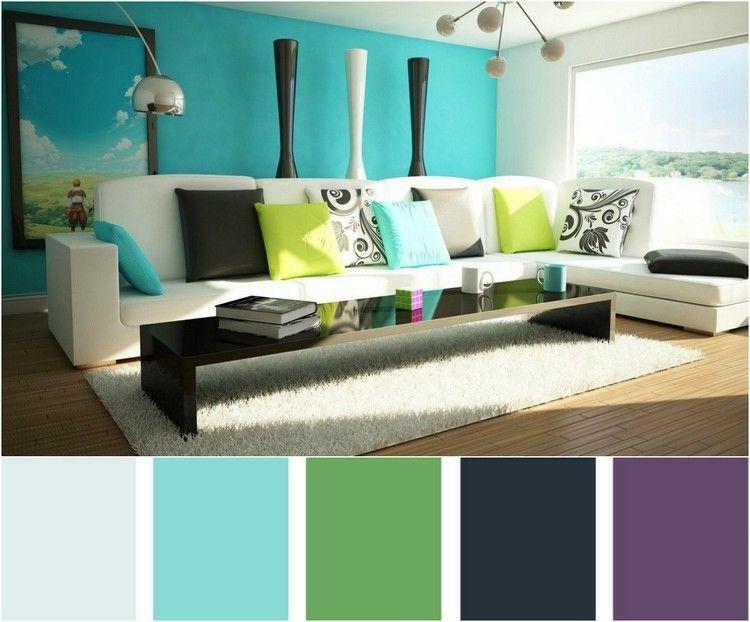 Passende Farbpalette für ein Wohnzimmer in Türkis Wohnzimmer - wohnzimmer modern turkis