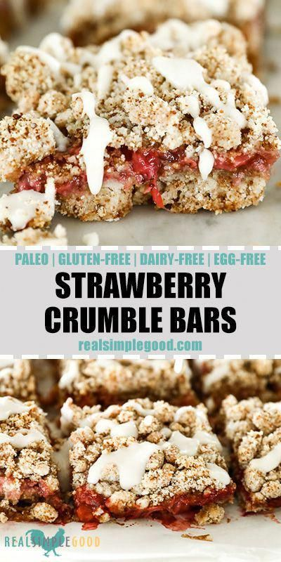 These Strawberry Crumble Bars are the perfect Spring treat that's Paleo, Dairy-Free, Refined Sugar-Free and even Egg-Free! They're super crowd-friendly too! They'll be one of your new favorite healthy strawberry recipes. |