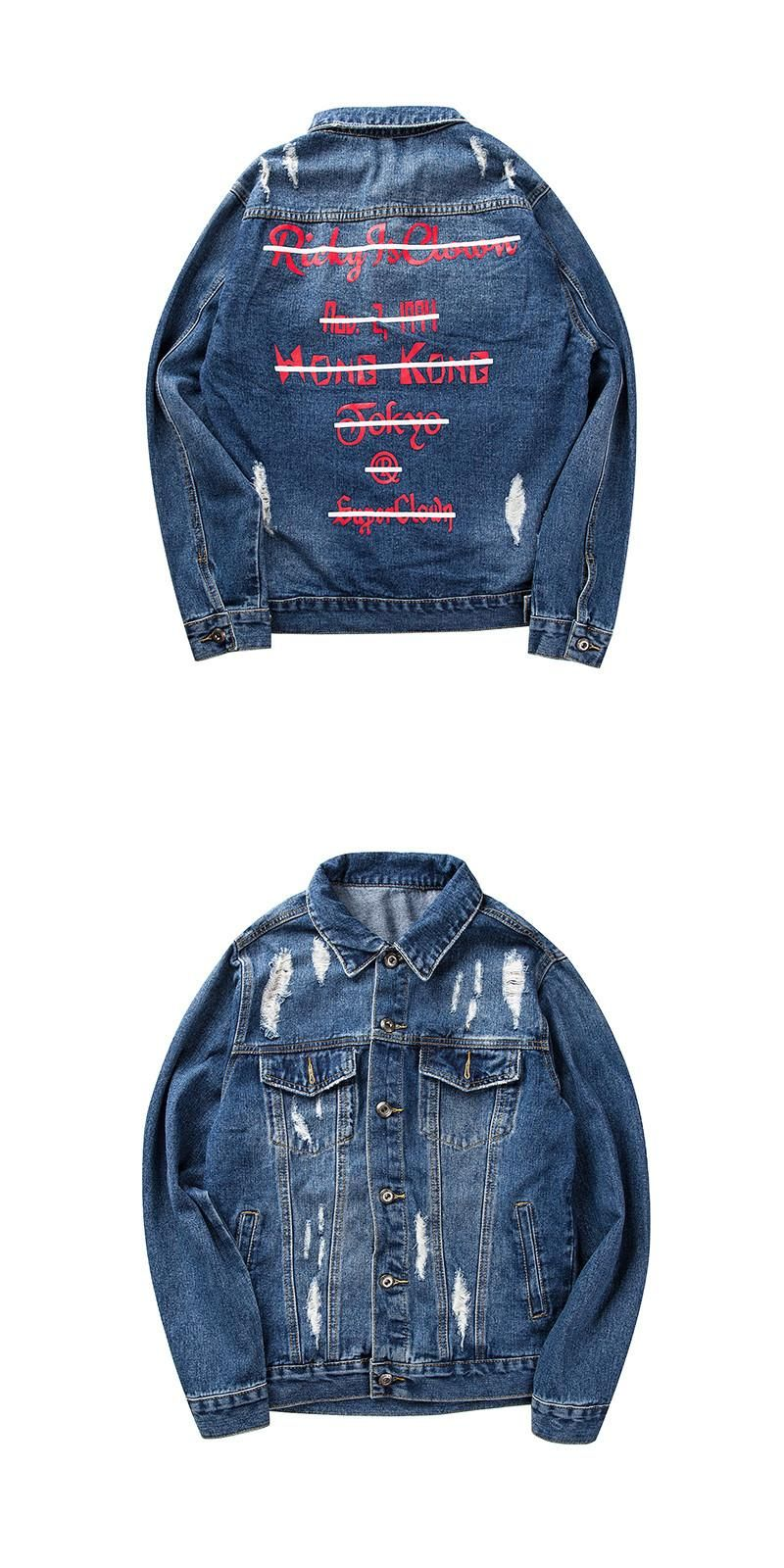 d683b72f3d5 Graffiti Letter Men Ripped Denim Jackets Mens 2017 Printed Jeans Women Coat  Hip Hop Casual Cotton