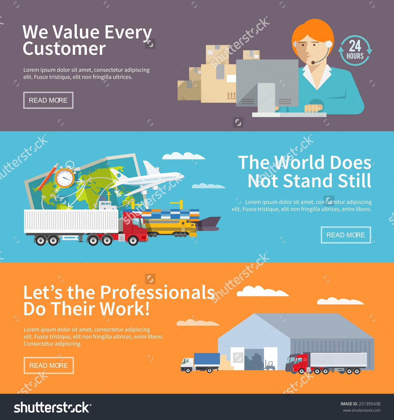 Colorful Flat Vector Logistics Banners Set For Your Business