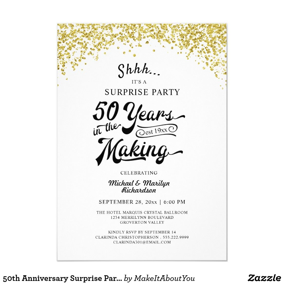50th Anniversary Surprise Party Gold Confetti Invitation Zazzle Com Confetti Invitation 50th Anniversary Invitations Anniversary Surprise