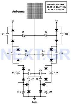 This circuit converts surrounding radio frequency waves to electric power. It can provide 40 Volts at 10 Watts indefinitely. The output power can be improved playing with the antenna. Placing the antenna near large metal objects gives more power. Antenna should be more than 150 feet long wire, placed horizontally as high as you can for best results. The pointing direction also is critical to the output.