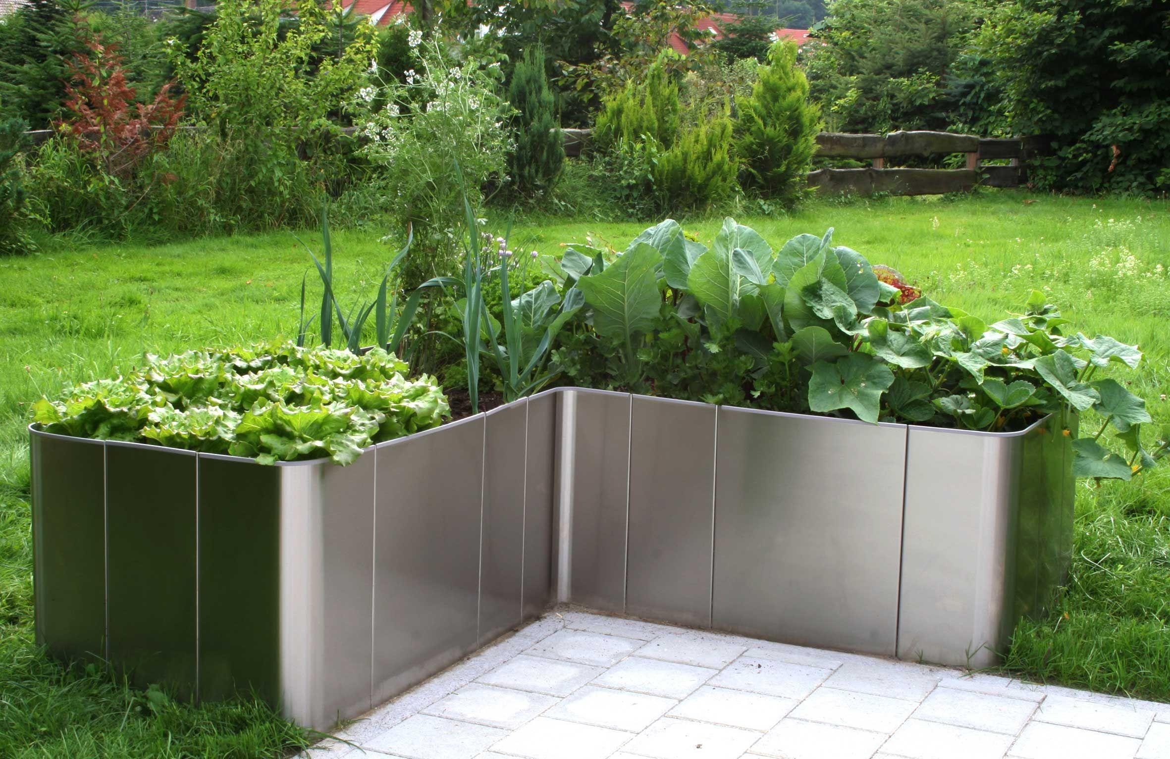 Edelstahlhochbeet Corner 163 H50 Hochbeet Garten Deko Gartendekor
