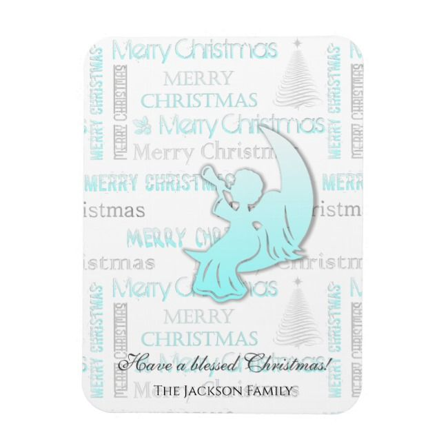 Elegant Turquoise and Silver Christmas Typography Magnet