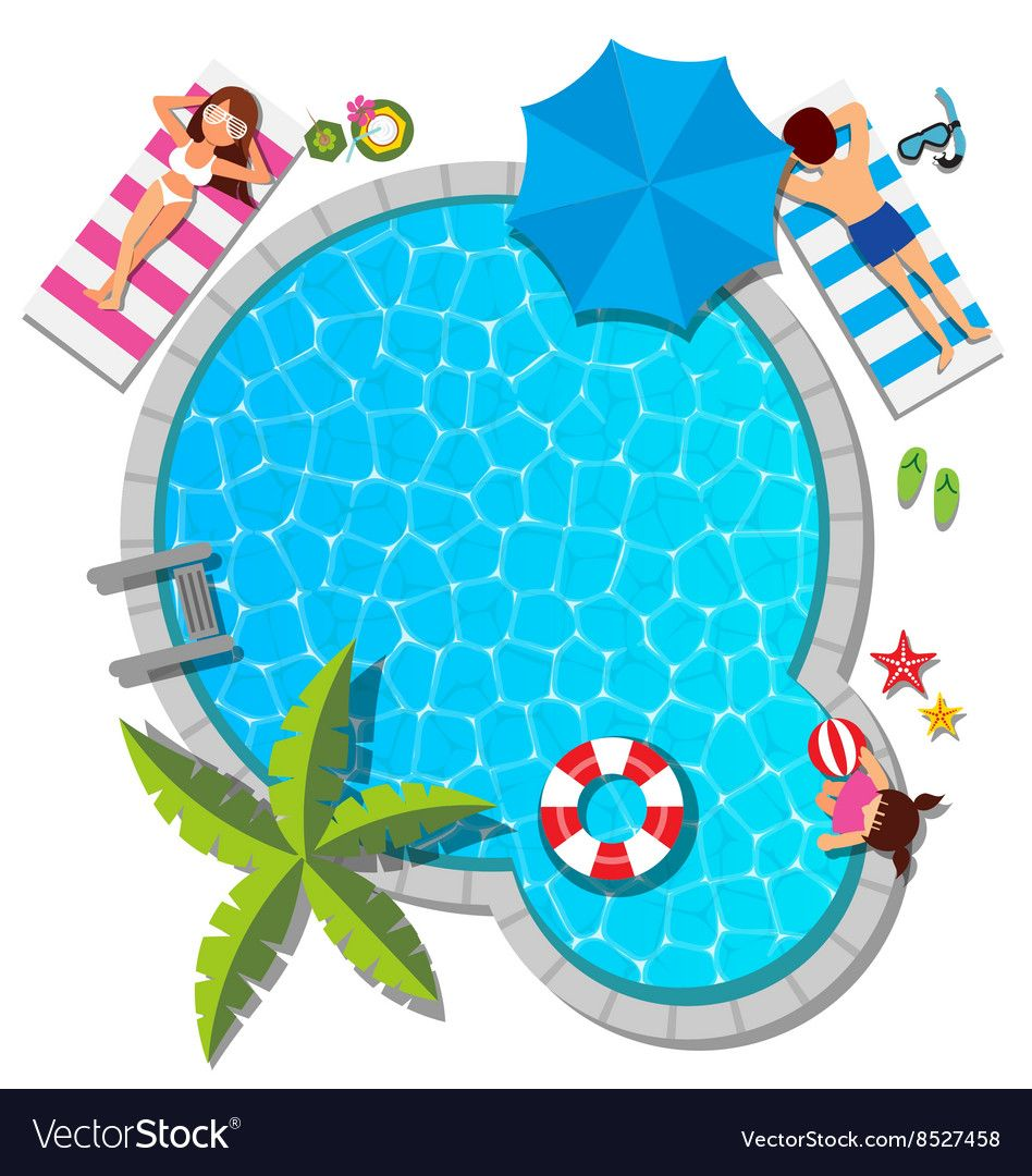 Young Family Relaxing At Swimming Pool For Summer Vector Image On Vectorstock Swimming Pools Pool Young Family