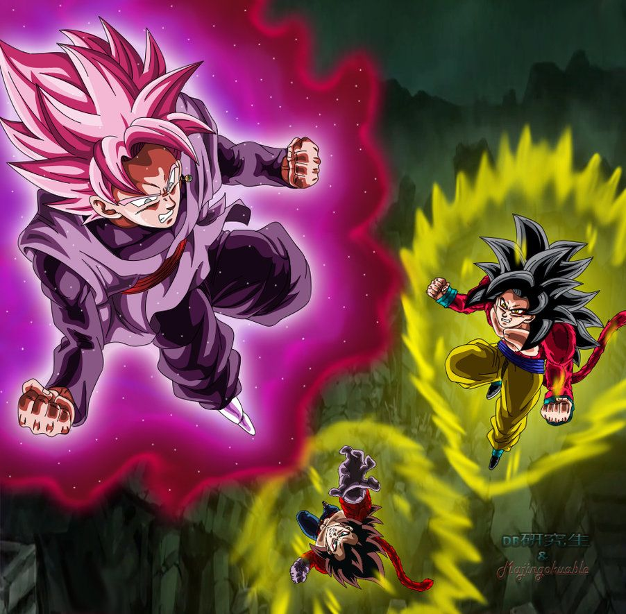 Goku Black Ssj Rose Vs Goku Y Vegeta Ssj4 By Majingokuable