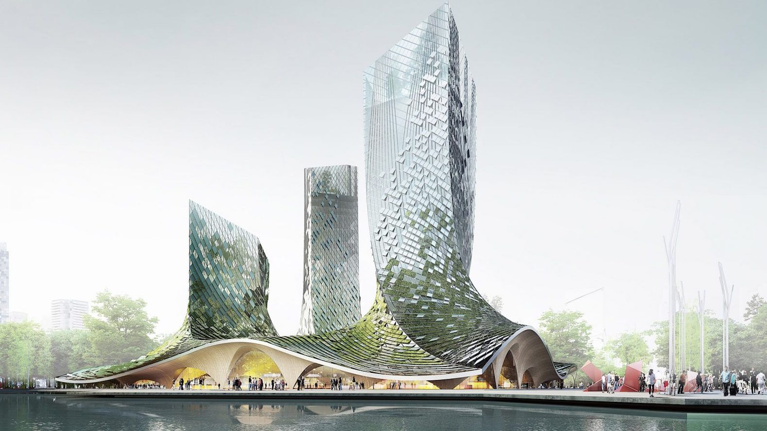Curvaceous Algae Covered Towers Proposed For Hangzhou Futuristic Architecture Concept Architecture Organic Architecture