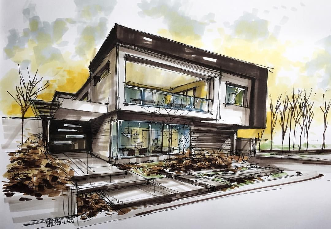 Modern house sketch wizki pinterest house sketch and for Architecture modern house design 2 point perspective view