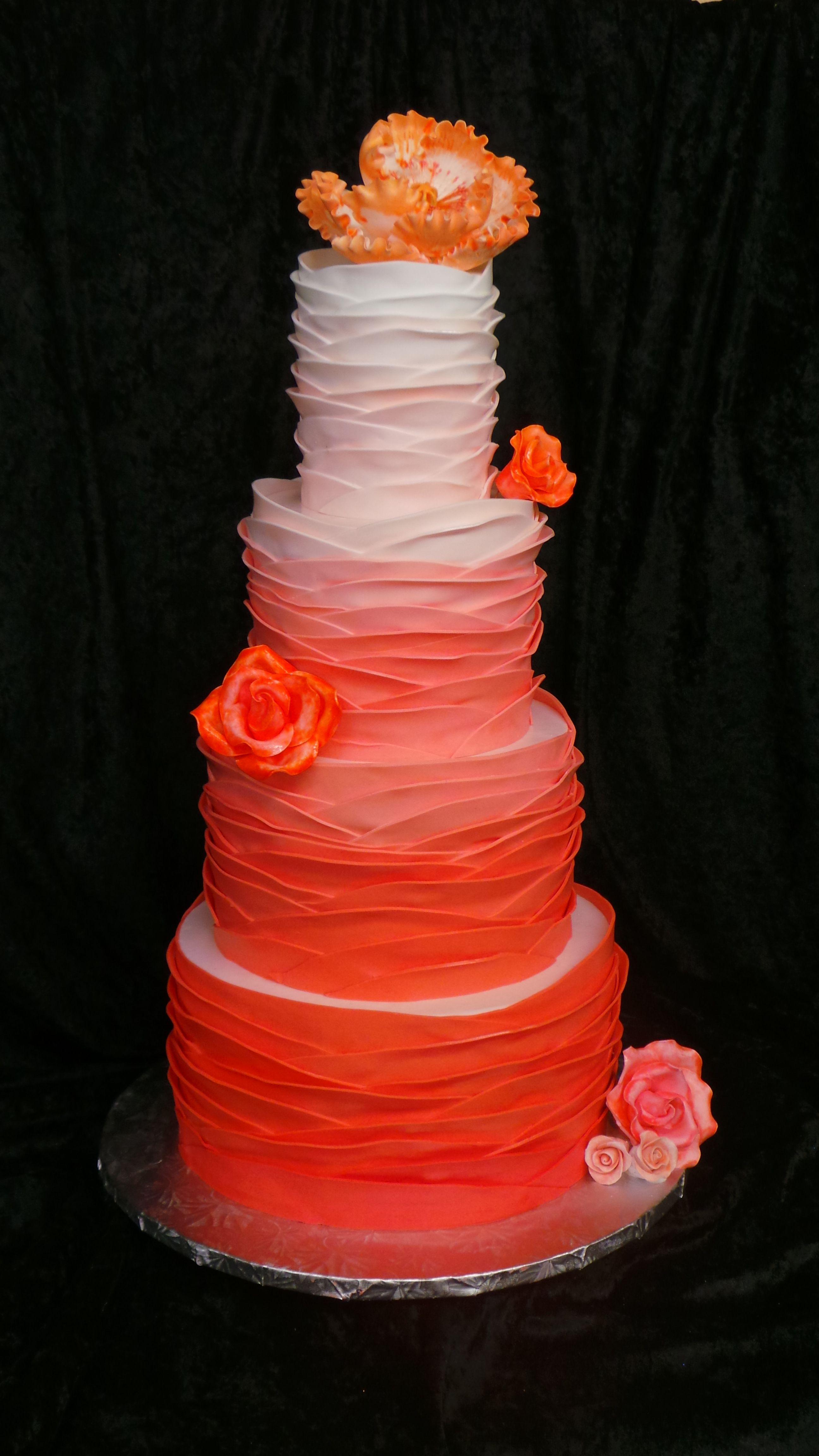 Ombre Orange Coral Peach and White Rose Ruffle Wedding Cake