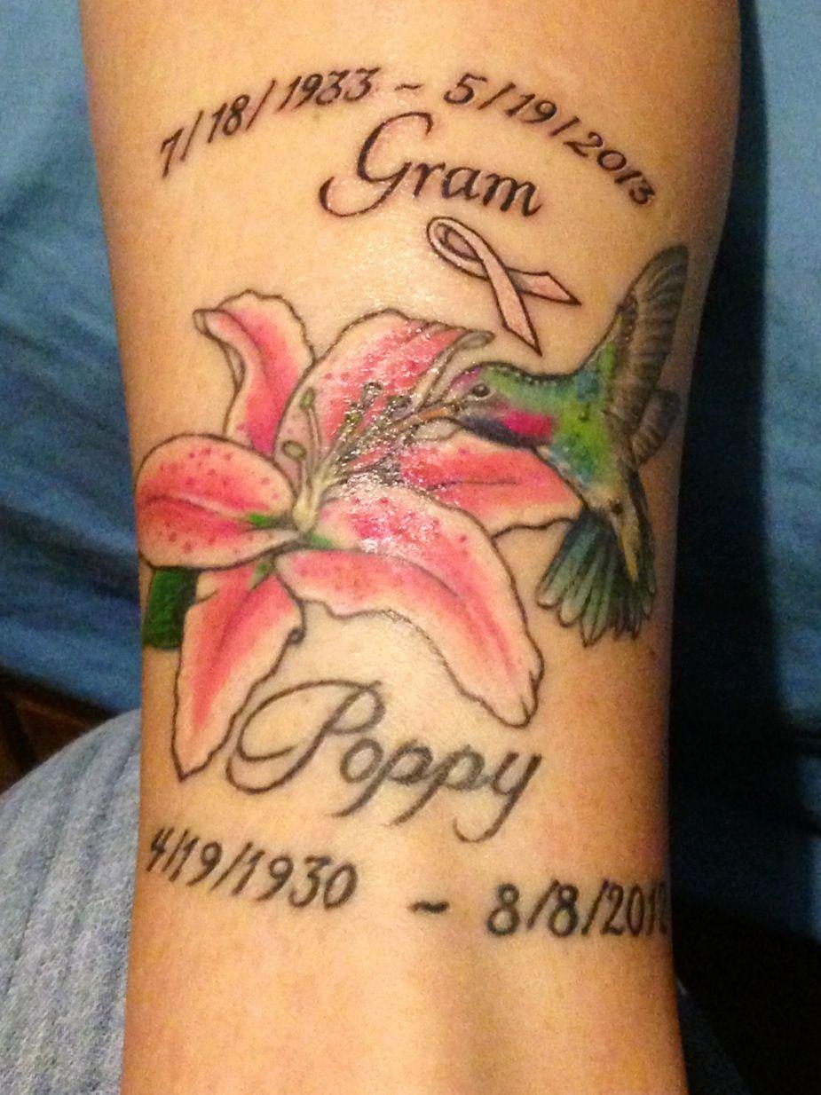 Hummingbird memorial tattoo for my grandparents. Isn't it