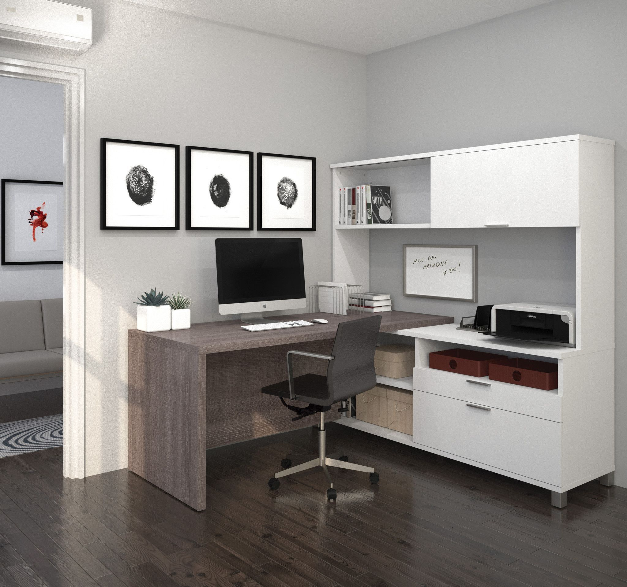 Bark Gray White 71 X 71 L Shaped Desk With Built In Storage L Shaped Desk Home Office Design Modern L Shaped Desk