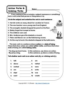 Action Verb And Linking Verb Worksheets Linking Verbs Linking Verbs Worksheet Action Verbs Worksheet Free printable verb worksheets for 5th