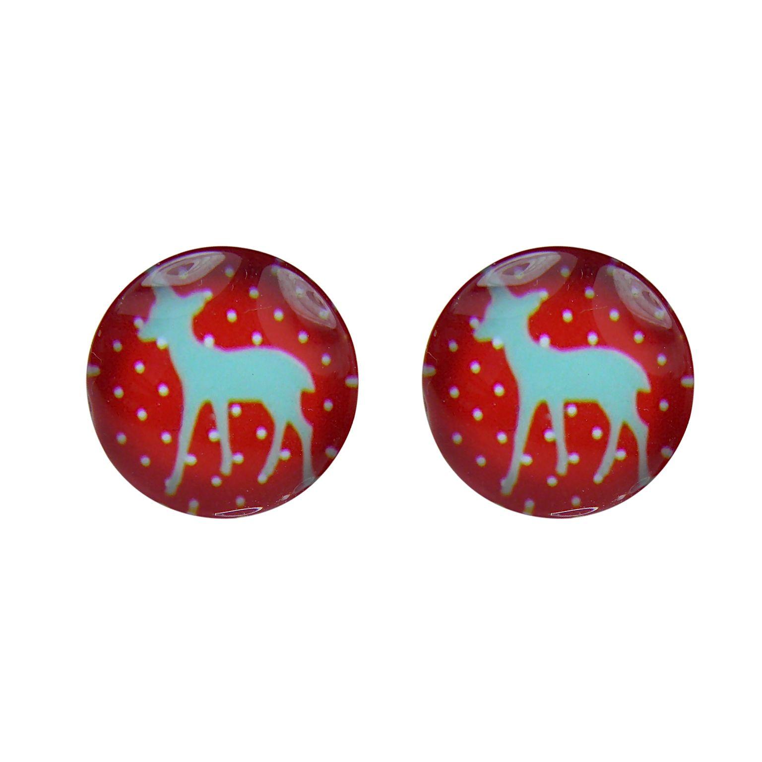 CHRISTMAS IN #HTFSTYLE - Grey deer glass stud earrings | hardtofind.