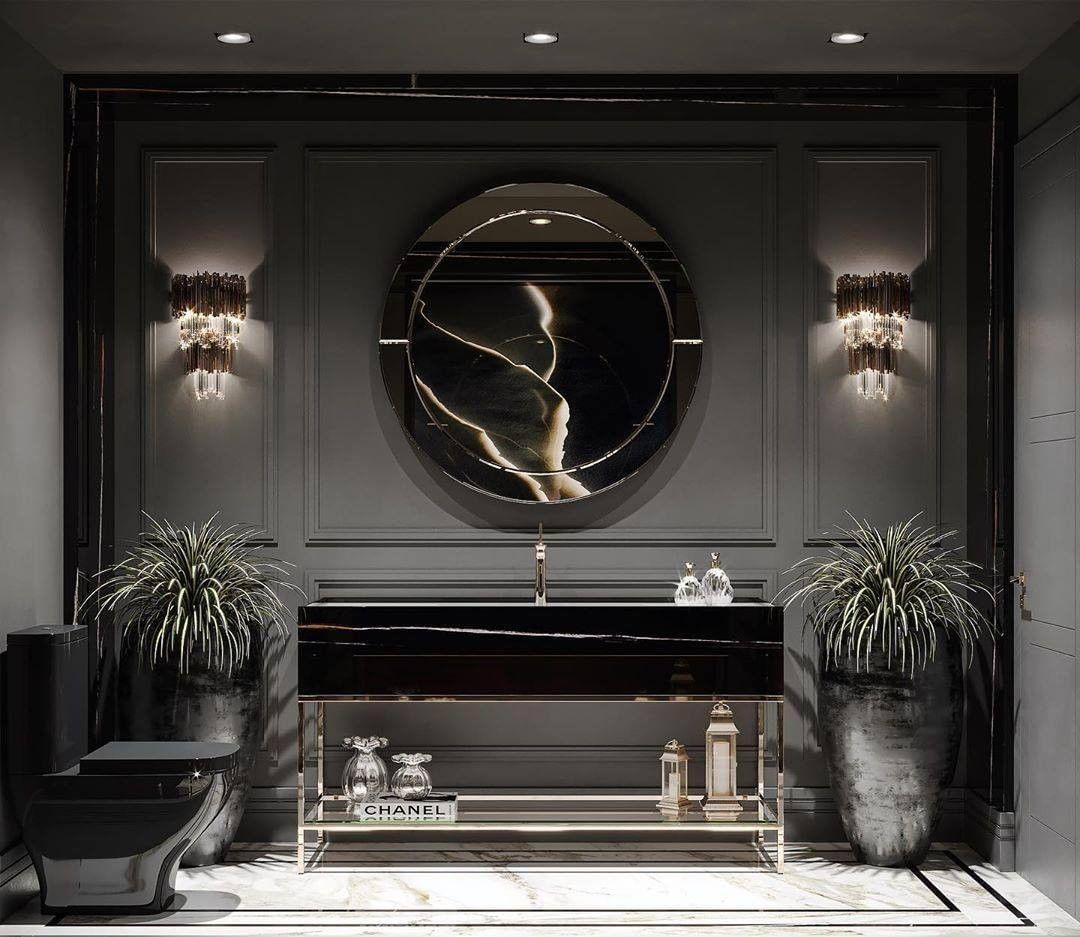 "Luxxu Modern Design&Living (@luxxumoderndesignliving) posted on Instagram: ""All back bathroom with gold details! by @anneliselacerda • #lifestylebyluxxu  #pendant #pendantlight #lighting #dramachandelier…"" • Jun 24, 2020 at 2:00am UTC"
