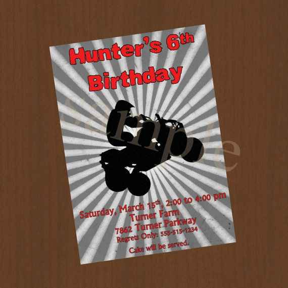 Boys Four Wheeler Birthday Party Invitation Digital Or Printed