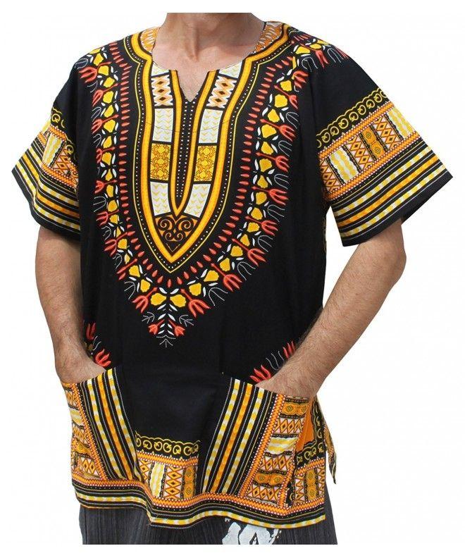 59ba578655e Unisex Bright Africa Black Dashiki Cotton Plus Size Shirt - Yellow and  Orange - CJ126ROWWTV