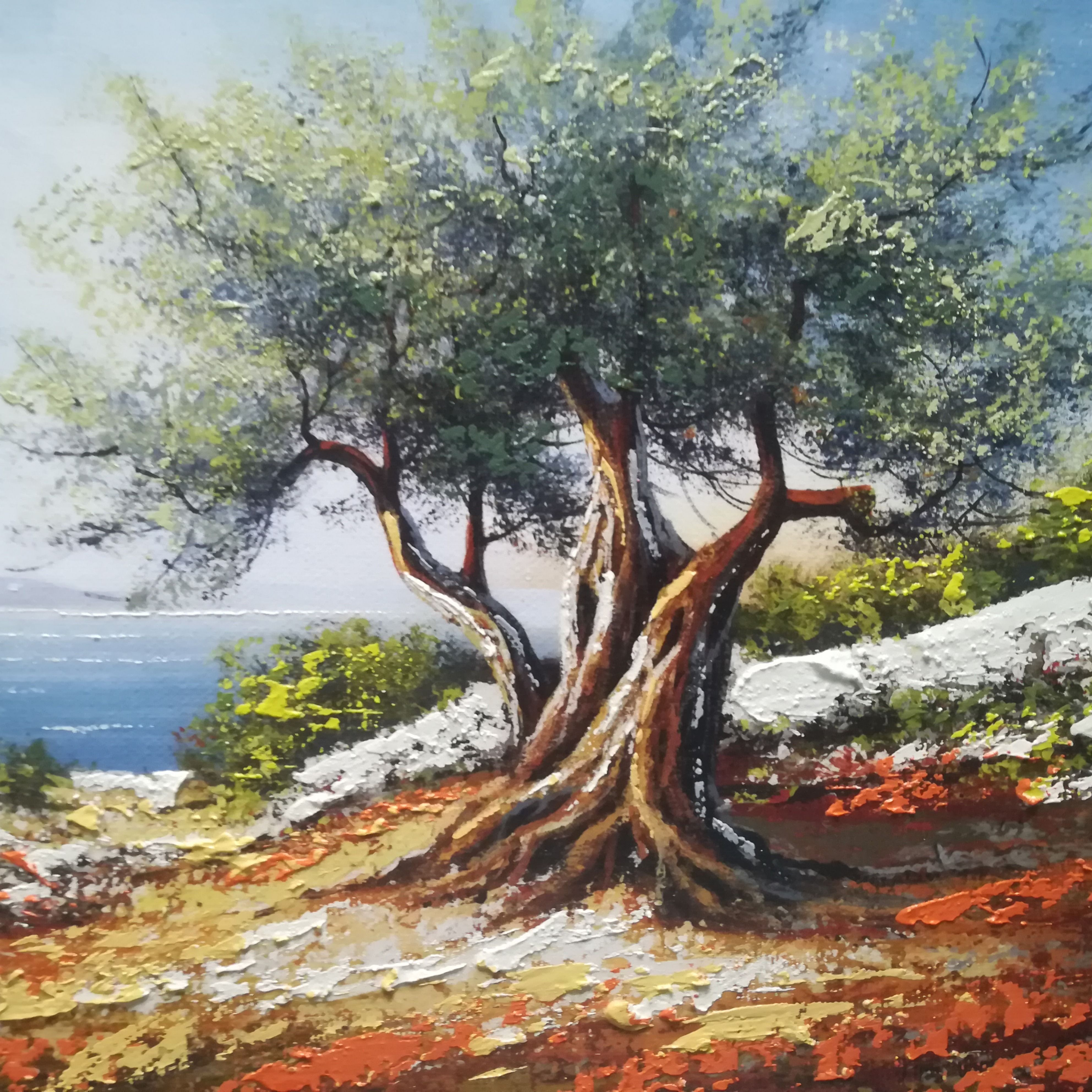 Olive Tree Landscape Painting Acrylic Wall Art Croatia Olive Tree Painting Tree Painting Acrylic Painting Trees