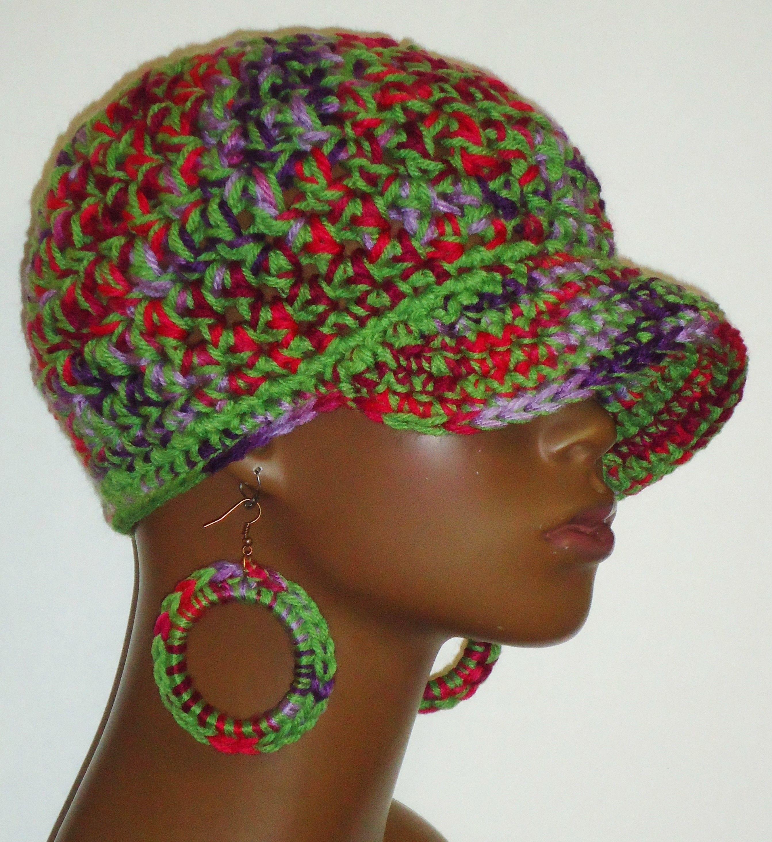 Crochet Baseball Cap and Earrings by Razonda Lee