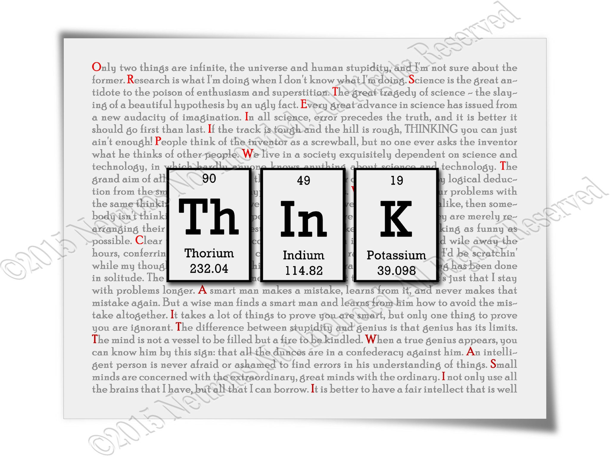 Think Periodic Table Of Elements Typography Art Print