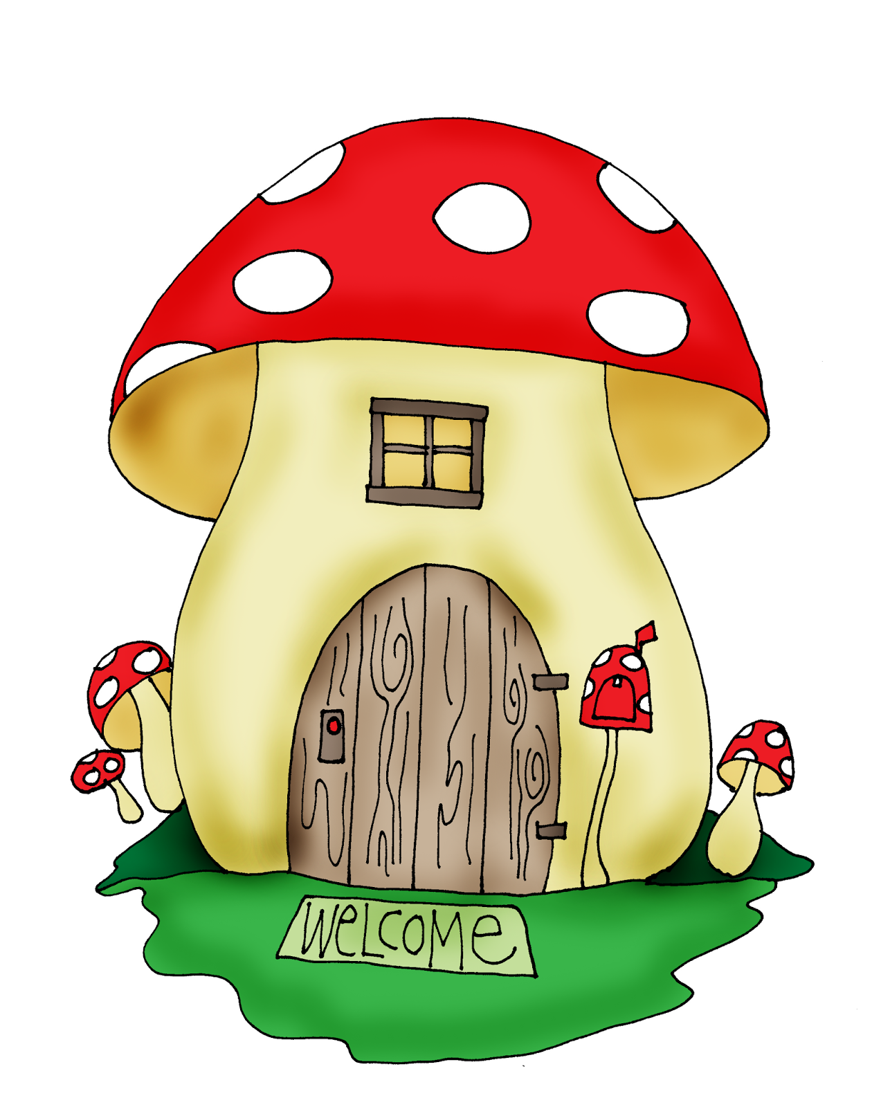 Free Dearie Dolls Digi Stamps: Mushroom House | Images: To Color ...