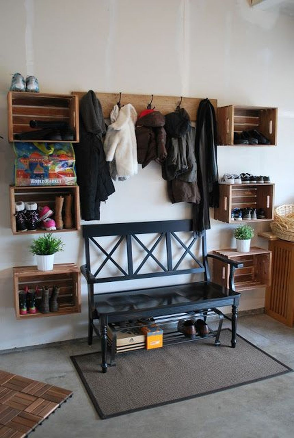 30 awesome mudroom entryway decorating ideas mud room on new garage organization ideas on a budget a little imagination id=46903