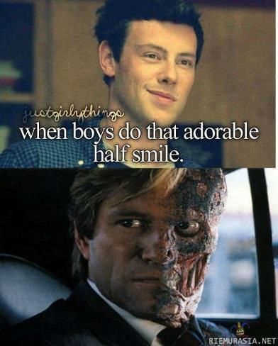 When boys do that adorable half smile. Finn is super adorable when he does this but the picture below it is hilarious and creepy at the same time.