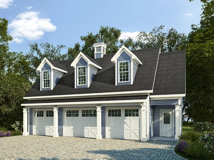 Country Style Carriage House Plan Offers Car Garage