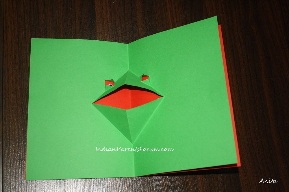 Greeting Card Making Ideas For Kids Part - 36: DIY Pop-up Greeting Card - Frog - Crafts For Kids Step By Step Instructions