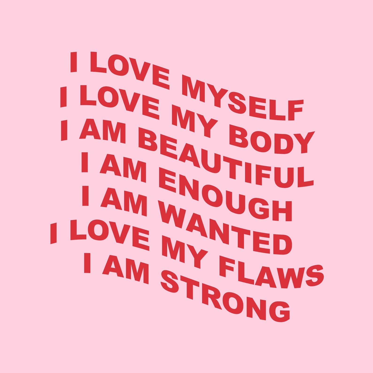 Self love affirmations aesthetic art print (2 colour options) self love, body positive, positivity, aesthetic room decor, self love print