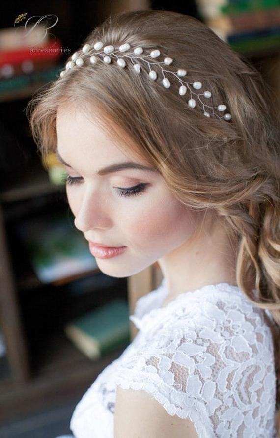 Simple Wedding Pearl Hair Vine White Ivory Bridal Hair Vine Headpiece Hair piece Wreath Long hair vine Minimalistic Bridal Hair Accessories