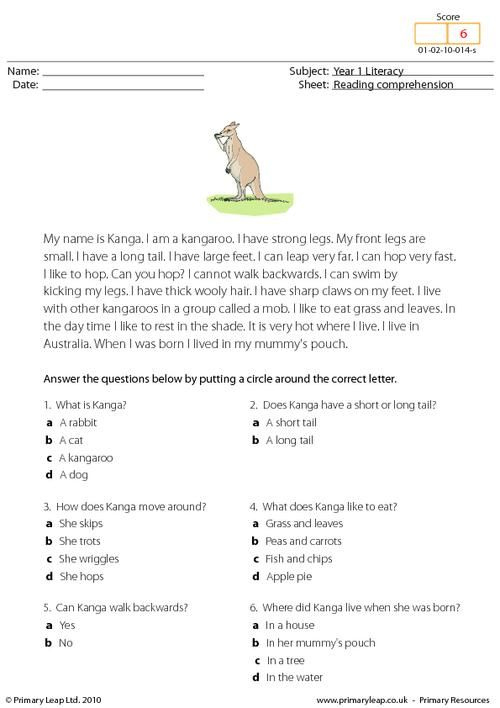 Primaryleap Co Uk Reading Comprehension I Am A Kangaroo Worksheet Reading Comprehension Reading Comprehension Worksheets Comprehension Worksheets