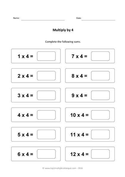 Four Times Table Practice Multiply By 4 Test