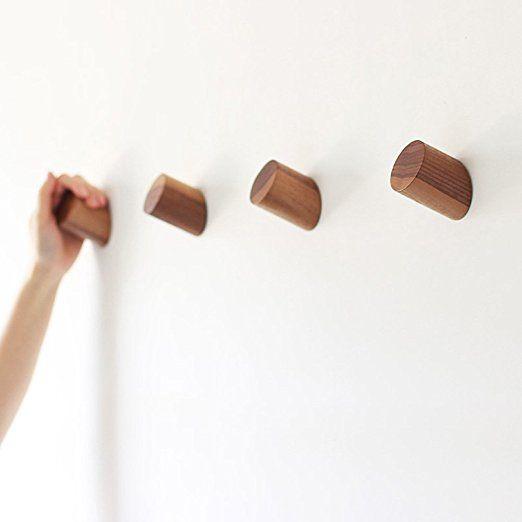 Natural Wooden Coat Hooks Wall Mounted Vintage Single Organizer